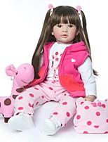 Недорогие -NPKCOLLECTION Куклы реборн Кукла для девочек Девочки 24 дюймовый как живой Новый дизайн Искусственная имплантация Коричневые глаза Детские Девочки Игрушки Подарок