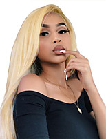 Недорогие -Не подвергавшиеся окрашиванию Полностью ленточные Парик Бразильские волосы Прямой Блондинка Парик 130% Плотность волос 12-22 дюймовый с детскими волосами Лучшее качество Горячая распродажа с клипом