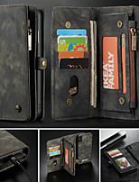 Недорогие -CaseMe Кейс для Назначение Apple iPhone X / iPhone 8 / iPhone 8 Plus Кошелек / Бумажник для карт / со стендом Чехол Однотонный Твердый Кожа PU для iPhone XS / iPhone XR / iPhone XS Max