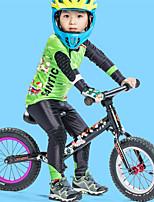 Недорогие -SANTIC Мальчики Длинный рукав Велокофты и лосины - Зеленый Мультипликация Велоспорт Наборы одежды Дышащий Быстровысыхающий Виды спорта Полиэстер Мультипликация Горные велосипеды Шоссейные велосипеды