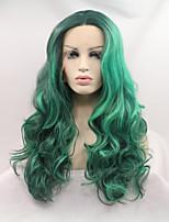 Недорогие -Синтетические кружевные передние парики Жен. Естественные кудри Зеленый Стрижка каскад 130% Человека Плотность волос Искусственные волосы 24 дюймовый Женский Зеленый Парик Длинные Лента спереди