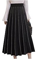 Недорогие -женские макси свинг юбки - полосатые