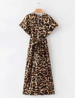Недорогие -Жен. Повседневные Желтый Комбинезоны, Леопард S M L С короткими рукавами