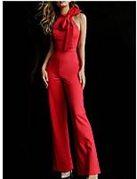 Недорогие -Жен. Повседневные / Рабочая одежда Хальтер Черный Красный Винный Комбинезоны, Однотонный Бант M L XL Хлопок Без рукавов / Сексуальные платья
