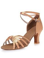 Недорогие -Жен. Обувь для латины Шёлк На каблуках Ленты Толстая каблук Персонализируемая Танцевальная обувь Телесный