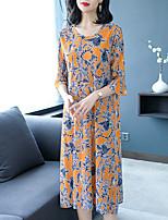 Недорогие -Жен. Прямое Платье - Однотонный / Геометрический принт, Вышивка Средней длины