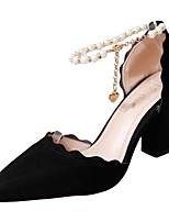 Недорогие -Жен. Полиуретан Весна Обувь на каблуках На толстом каблуке Заостренный носок Черный / Серый / Розовый / Для вечеринки / ужина