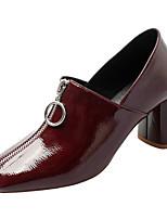 Недорогие -Жен. Полиуретан Весна Обувь на каблуках На толстом каблуке Квадратный носок Черный / Вино
