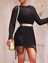 Недорогие -Жен. Классический / Уличный стиль Оболочка Платье - Однотонный Мини