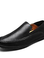Недорогие -Муж. Комфортная обувь Кожа Зима Мокасины и Свитер Черный / Темно-русый