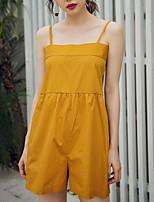 Недорогие -Жен. Повседневные Черный Желтый Комбинезоны, Однотонный M L XL Без рукавов