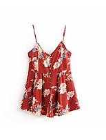 Недорогие -Жен. Повседневные Красный Комбинезоны, Однотонный / Цветочный принт S M L Без рукавов
