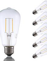 Недорогие -6 шт. Gmy st19 светодиодные лампы Эдисона 2 Вт светодиодные лампы накаливания эквивалент 22 Вт с цоколем e26 2700 К теплый белый для спальни гостиной дома кафе декоративные