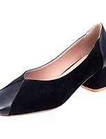Недорогие -Жен. Полиуретан Весна Обувь на каблуках На толстом каблуке Квадратный носок Черный / Бежевый / Вино