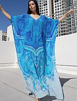 Недорогие -Жен. Классический Синий Смелые Накидка Купальники - Однотонный / Геометрический принт Один размер
