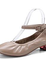 Недорогие -Жен. Овчина Зима Милая / Минимализм Обувь на каблуках На толстом каблуке Круглый носок Телесный