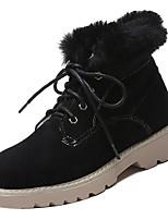 Недорогие -Жен. Полиуретан Зима На каждый день Ботинки На низком каблуке Круглый носок Сапоги до середины икры Черный / Хаки