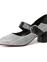 Недорогие -Жен. Наппа Leather Весна Обувь на каблуках На толстом каблуке Черный / Коричневый
