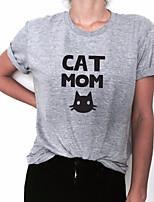 Недорогие -женская футболка - цветной блок / геометрическая шея