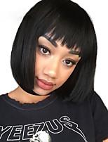 Недорогие -человеческие волосы Remy Полностью ленточные Лента спереди Парик Бразильские волосы Естественный прямой Парик Стрижка боб 130% 150% 180% Плотность волос