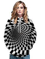 Недорогие -Тонкая толстовка с длинным рукавом для женщин - полосатый с капюшоном, черный м