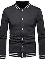 Недорогие -Муж. Повседневные Классический Обычная Куртка, Однотонный Круглый вырез Длинный рукав Хлопок Черный / Темно синий / Серый L / XL / XXL