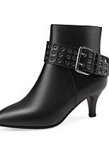 Недорогие -Жен. Наппа Leather Осень Ботинки На шпильке Закрытый мыс Ботинки Черный