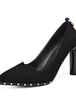 Недорогие -Жен. Полиуретан Весна Минимализм Обувь на каблуках На толстом каблуке Заостренный носок Черный / Винный / Миндальный