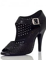 Недорогие -Жен. Обувь для латины Полиуретан Сандалии / На каблуках Пряжки Тонкий высокий каблук Персонализируемая Танцевальная обувь Черный