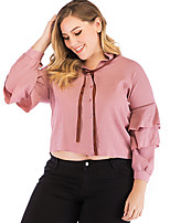Недорогие -женская рубашка азиатского размера - полосатый шею