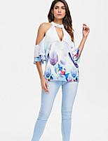 Недорогие -Жен. С принтом Блуза Геометрический принт / Контрастных цветов