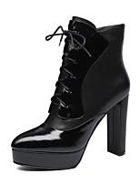 Недорогие -Жен. Наппа Leather Осень Ботинки На толстом каблуке Закрытый мыс Ботинки Черный / Серый