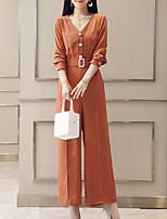 Недорогие -Жен. Повседневные Оранжевый Бежевый Комбинезоны, Однотонный L XL XXL Длинный рукав