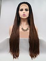 Недорогие -Синтетические кружевные передние парики / Дреды / Faux Locs переплетенный Черный Стрижка каскад / тесьма Medium Auburn 130% Человека Плотность волос Искусственные волосы 24 дюймовый Жен. / Коричневый