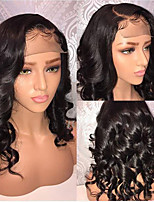 cheap -Human Hair Lace Front Wig Bob Short Bob style Brazilian Hair Wavy Black Wig 130% Density with Baby Hair Natural Hairline For Black Women 100% Virgin 100% Hand Tied Black Women's Short Human Hair Lace