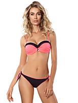 abordables -Femme Basique Fuchsia Slip Brésilien Bikinis Maillots de Bain - Couleur Pleine S M L