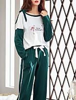 Недорогие -Жен. Круглый вырез Костюм Пижамы Контрастных цветов