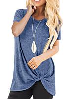Недорогие -женская футболка азиатского размера - сплошная цветная шея