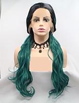 Недорогие -Синтетические кружевные передние парики переплетенный / Loose Curl Черный Стрижка каскад Черный / зеленый 130% Человека Плотность волос Искусственные волосы 24 дюймовый Жен. Женский Черный / Зеленый