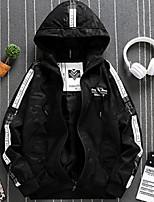 Недорогие -Муж. Повседневные Классический Осень Обычная Куртка, Однотонный Капюшон Длинный рукав Хлопок / Полиэстер Зеленый / Черный XL / XXL / XXXL