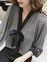 Недорогие -женская рабочая рубашка азиатского размера - клетка / цвет блок v шея