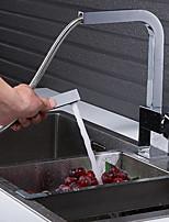 Недорогие -кухонный смеситель - Одной ручкой одно отверстие Электропокрытие Выдвижная / Выпадающий / Высокий / High Arc Обычные Kitchen Taps