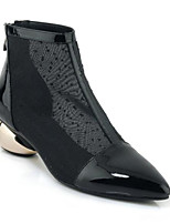 Недорогие -Жен. Наппа Leather Весна Ботинки На толстом каблуке Ботинки Черный / Миндальный