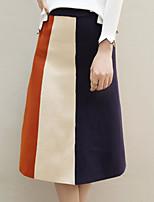 Недорогие -женские льняные / хлопчатобумажные юбки миди линейка - цвет блок