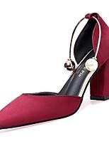 Недорогие -Жен. Полиуретан Весна Обувь на каблуках На толстом каблуке Заостренный носок Бежевый / Розовый / Вино