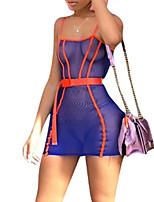 Недорогие -Жен. Классический Оболочка Платье - Однотонный / Контрастных цветов, Сетка Мини