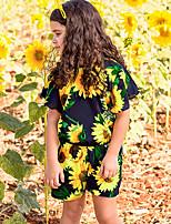 Недорогие -малыш Девочки Активный Повседневные Цветочный принт Короткие рукава Полиэстер 1 предмет Черный