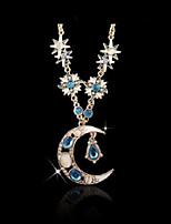 Недорогие -Жен. Классический Ожерелья с подвесками - MOON европейский, модный Милый Синий 86 cm Ожерелье Бижутерия 1шт Назначение Повседневные, Для улицы