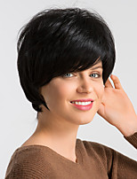 Недорогие -Человеческие волосы без парики Натуральные волосы Естественный прямой Стрижка под мальчика Модный дизайн / Легко туалетный / Удобный Черный Короткие Без шапочки-основы Парик Жен. / Природные волосы