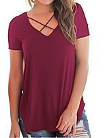 Недорогие -женская футболка большого размера - сплошной цвет V-образным вырезом